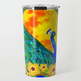 YELLOW HIBISCUS FULL GOLDEN MOON  BLUE PEACOCKS Travel Mug