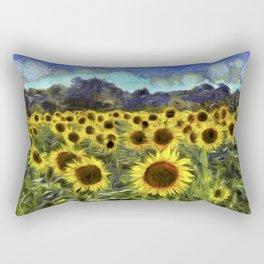 Sunflower Fields Of Summer Van Goth Rectangular Pillow