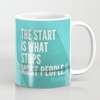 sayings Mugs featuring The Start by Zeke Tucker
