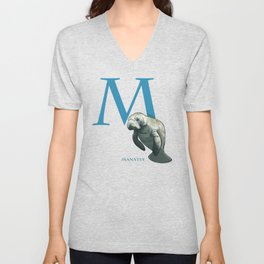 M is for Manatee: Under Appreciated Animals™ ABC nursery decor sea life red unusual animals Unisex V-Neck