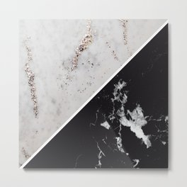White Glitter Marble Meets Black Marble #1 #decor #art #society6 Metal Print