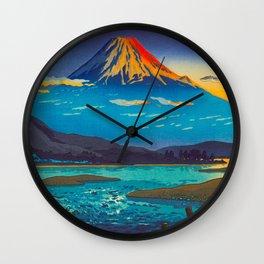 Tsuchiya Koitsu Tokaido Fujikawa Japanese Woodblock Print Sunset Colorful Hues Mountain Landscape Wall Clock