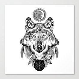 Bohemian Celestial Wolf Canvas Print