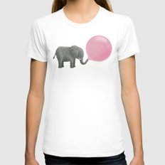 Jumbo Bubble Gum White MEDIUM Womens Fitted Tee