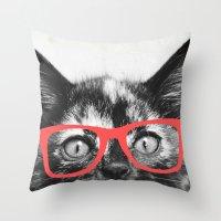 sassy Throw Pillows featuring Sassy Kitten by Allyson Johnson