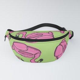 Flamingo Floatie Pattern on Lime Green Fanny Pack