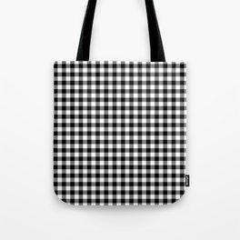 Medium Black Christmas Gingham Plaid Check Tote Bag