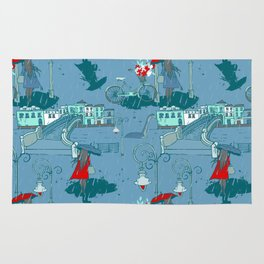 Rainy Day Umbrella and Irish Bridge Blue Vintage Romantic Art Rug