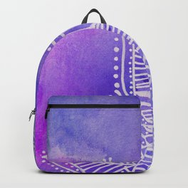 Mandala flower on watercolor background - purple and blue Backpack