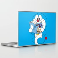 comic book Laptop & iPad Skins featuring Doraemon Reading Comic Book by Timeless-Id