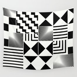 Mosaic Black And White Pattern Wall Tapestry