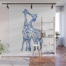 Giraffes kiss art Wall Mural