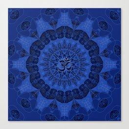 Mandala pattern yoga sign namaste navy dark blue cobalt Canvas Print