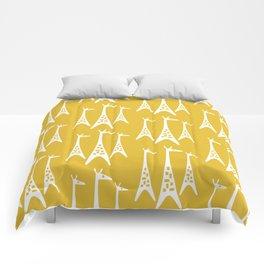Mid Century Modern Giraffe Pattern 221 Mustard Yellow Comforters