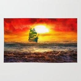 Black Pearl Pirate Ship Rug