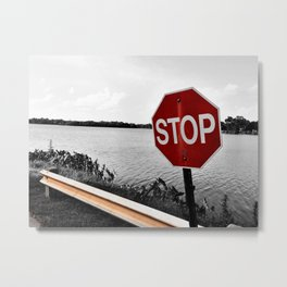 Iterations of a Stop Sign #2: Desaturate Metal Print