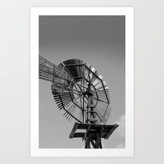 Antique Windmill Black and White Photography Art Print
