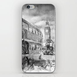 Graphic Art LONDON WESTMINSTER Buses | Monochrome iPhone Skin