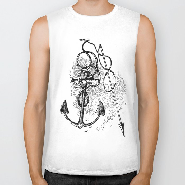 Anchor and harpoon. Biker Tank