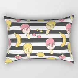 summer striped pattern with ice cream, strawberry, lemon, cherry and banana Rectangular Pillow