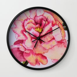 Watercolour Peonies Wall Clock