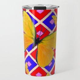 Yellow Butterflies Modern Red-Blue Checker Art Travel Mug