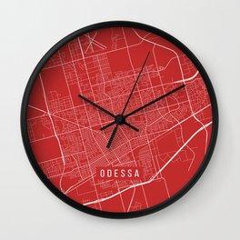 Odessa Map, USA - Red Wall Clock
