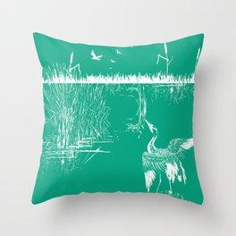 Oriental Exotic Heron & Boirds on a Lake Print - Emerald Green Throw Pillow