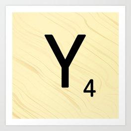Scrabble Y Initial - Large Scrabble Tile Letter Art Print