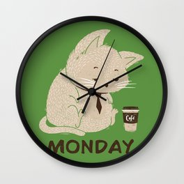 Monday Cat Wall Clock