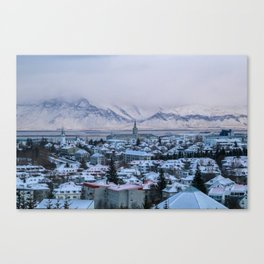 Icy Mountains in Reykjavik Canvas Print