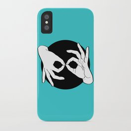 Sign Language (ASL) Interpreter – White on Black 11 iPhone Case