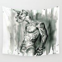 sphynx Wall Tapestries featuring Hipster Sphynx by Psyca
