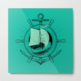Anchor Wheel & Wooden Sailer Metal Print
