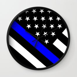 Police Flag: The Thin Blue Line Wall Clock