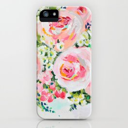 Cottage chic pink peony bouquet iPhone Case