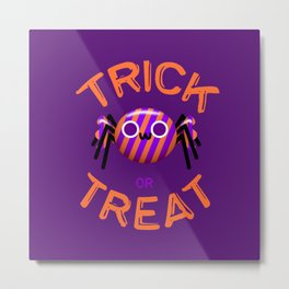 Trick or Treat Candy Cute Spider Metal Print