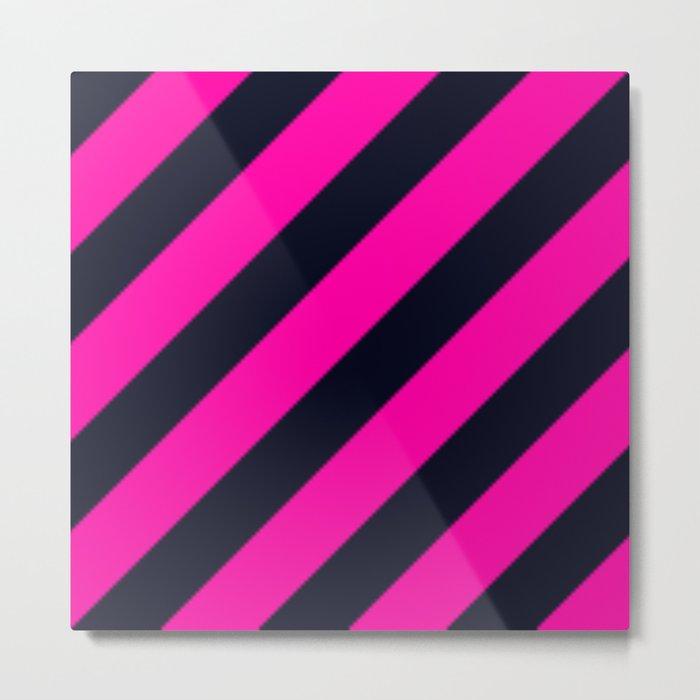 Black and Dark Pink Stripes Metal Print