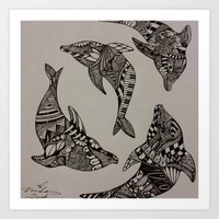 dolphins Art Prints featuring Dolphins by Mindy Robinson