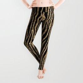 Black & Gold Glitter Animal Print Leggings