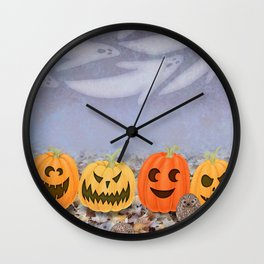 halloween hedgehogs, pumpkins, and ghost clouds Wall Clock
