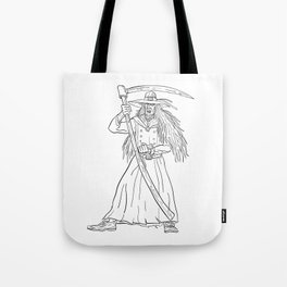 Ankou Graveyard Watcher With Scythe Drawing Black and White Tote Bag