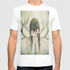beware the antlers MEDIUM Mens Fitted Tee White