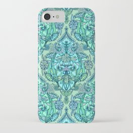 Botanical Moroccan Doodle Pattern in Mint Green, Lilac & Aqua iPhone Case