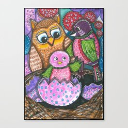 Birth of chick and owl. Little bird Canvas Print