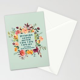Pride and prejudice, you bewitch me florals Stationery Cards