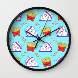 Cute sweet adorable Kawaii fitness bunnies exercising on a yoga mat, yummy happy funny French fries light pastel baby blue pattern design. Workout and comfort food. Wall Clock