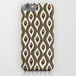 Eyes on olive green seamless pattern iPhone Case