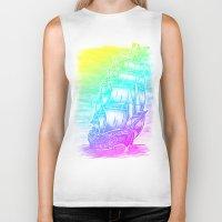 pirate ship Biker Tanks featuring Caleuche Ghost Pirate Ship - Color by Roberto Jaras Lira
