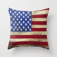 american flag Throw Pillows featuring American Flag by Jason Michael